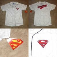 Wholesale Black Superman Movie - 2017 Custom Mens S-5XL And Youth S-XL DC Comics Superman Baseball Jersey Sz L NWT Man Of Steel Comics Movie Film Free Ship