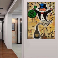 Wholesale art painting frames for sale - Group buy Alec Monopoly Oil Painting on Canvas Graffiti Wall Art Home Decor High Quality Handpainted The gin Multi Sizes Frame Options g122