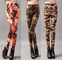 Wholesale women camouflage tights for sale - Group buy Camouflage Leggings Women Spring Fashion Bottomings Clothing Legging Tights Elastic Milk Silk Slim Pants