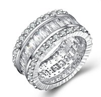 Wholesale brilliant diamond rings - OEM Brilliant SONA Ladder Side Simulate Diamond Ring 925 Sterling Silver Platinum Plated Engagement Ring Band Jewelry Wholesale