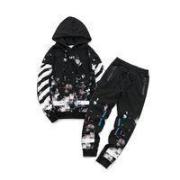 Wholesale ankle length clothing for sale - Designer off Men s white Tracksuits Sportswear Sets Jogging Suits Hoodies Men Sweatshirts loose Suit Mens pants Brand Clothing style