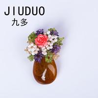 corsage da agulha venda por atacado-Acessórios de moda coreano com luxo selvagem cinza pérola pingente de cristal broche corsage agulha colar de roupas de flores