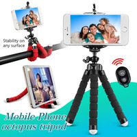 Wholesale tripod camera - Flexible Octopus Tripod Phone Holder Universal Stand Bracket For Cell Phone Car Camera Selfie Monopod with Bluetooth Remote Shutter