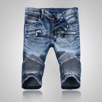Wholesale men coats new model - New fashion worn blue denim shorts trousers zipper explosion models 907