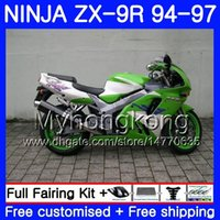 Wholesale 96 kawasaki zx9r online - Body For KAWASAKI NINJA ZX900 ZX9R HM ZX R ZX R CC ZX R Fairing kit green sliver hot