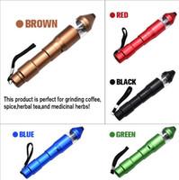 elektronik ot öğütücü toptan satış-Hediye kutusu ile 5 renk Abrader Metal Taşlama Tütün Herb Biber Mills Sigaralar Şarj Elektrik Herb Elektronik Kalem Öğütücü USB