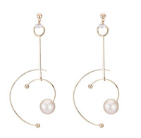 Wholesale tracking earrings for sale - Group buy Shaped like a star track earrings with cold wind hollowed out semicircle geometric earrings with zircon pearl earrings