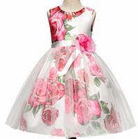 Wholesale puff bow dress for sale - 2018 NEW arrival hot Girls summer rose printed gauze puff princess dress causal girl summer elegant casual sleeveless dress