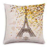 ingrosso sedia di autunno-Federa fiore autunno Parigi Cuscino tessuto lino auto sedia sedile 18x18 pollici cuscini decorativi tiro di nozze