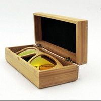 Wholesale natural handmade wooden wood case online - Natural Handmade Vintage Bamboo Sunglasses Wood Wooden Frame Glasses Box Sunglasses Protector Case Storage Holder Box OOA4611