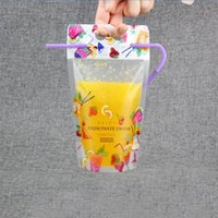 Wholesale Disposable Sleeves - Clear Stand-up Beverage Drink Coffee Plastic Packaging Bag Resealable Zip Lock Juice Storage Pouch With Straw ZA5674