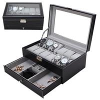 ingrosso organizzatori di scatole-12 caselle per griglie scatole a doppio strato di orologi in pelle PU cassa di orologio professionale per anelli braccialetto titolare scatola dell'organizzatore