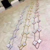 jóia escudo mexicano venda por atacado-Marca de qualidade superior original 925 logotipo de prata quatro folhas de jóias de flores para as mulheres 20 colar de flores com a mãe pérola shell trevo jóias
