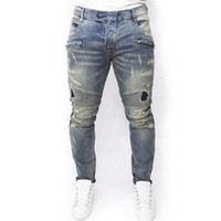 monos 5xl al por mayor-NUEVO envío gratis 2018 Moda kpop flaco ripped korean hip hop moda pantalones cool para hombre ropa urbana mono para hombre jeans Jeans True Elastic