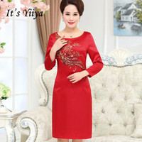 It s Yiiya Mother of the Bride Dresses O-Neck Full Sleeve Bling Sequined Slim  Plus Size A-Line Elegant Mother Dress M032 43022d93744f