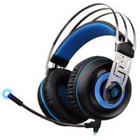 ingrosso cuffie virtuali-SADES A7 7.1 Virtual Surround Sound Cuffia da gioco USB con microfono a cancellazione del rumore intelligente Luce a LED per computer portatile Mac