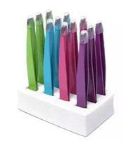 eğimli kaş cımbızları toptan satış-Sıcak satış-24 Adet Renkli Paslanmaz Çelik Eğimli Ucu Güzellik Kaş Cımbız Epilasyon Araçları Düşük Fiyat En Iyi Promosyon ücretsiz kargo