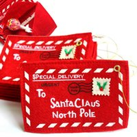 Wholesale cloth money resale online - Christmas Envelopes for Greeting Cards Red Santa Gift Bags Boxes for Candy Pocket Money Christmas Tree Decorations