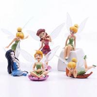 ingrosso miniature di giardino fiabesco-Flower Pixie Fairy Miniature Figurine Casa delle bambole Ornamento del giardino Decorazione Artigianato Figurine 6 pezzi / set