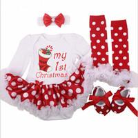 ingrosso vestiti natalizi della neonata-Christmas Baby Costumes Cloth Infant Toddler Girls First Christmas Outfits Pagliaccetto neonato Set regalo di compleanno