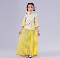 chinesisches kostüm für mädchen kinder großhandel-Neue Kinder Chinesisches Traditionelles Kostüm Top + Rock 2 Stücke Mädchen Chinesisches Guzheng Altes Kostüm Kinder Hanfu Hochzeitskleidung