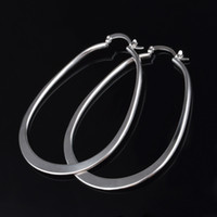 Wholesale dangling rings - New arrival Fashion U Shape Vogue Round Drop Oval Dangle Hoop Ring 925 Sterling Silver Plated Drop Earring