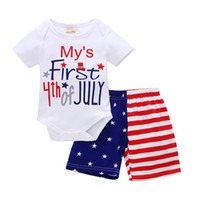 ingrosso set di bandiera per bambini-My First 4th of INS INS Baby boy abbigliamento Outfit Body + America Flag Shorts 2 pezzi set estate 2018