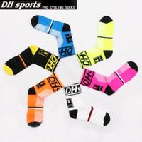 Wholesale dh sports - 6 Colors 2pcs pair Cycling Socks Running Sporting Basketball Socks DH Sports Cycling Stockings CCA8952 50pair
