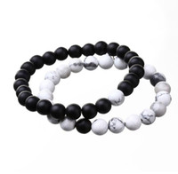 Wholesale JLN Agate Power Beads Bracelet Matte Onyx White Howlite Natural Stone Stretched Rope Chain Bracelets For Men Women Jewelry