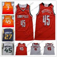 Wholesale cardinals red - Louisville Cardinals #45 Donavan Mitchell white navy orange red rainbow rubio Rudy Gobert Donovan College Basketball city edition Jerseys