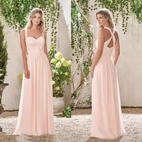 Wholesale baby blue chiffon long dresses resale online - 2019 Baby Pink A Line Bridesmaid Dresses Sweetheart Lace Chiffon Bridesmaids Gowns For Summer Sexy Back Design Evening Prom Dress BC0139