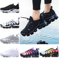 Wholesale size 12 mens - 2018 NEW Vapormax TN Plus Men Running Shoes Triple s White Black Silver Oreo Hyper Violet Mens Sport Sneaker size 7-12