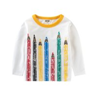 Wholesale funny girl baby clothes - New Long SleeveT-Shirts Boys Girls Tees Cotton Funny Colorful Pencil Print Tops Baby 2-8 Years Kids Clothing Tops Children's Clothes