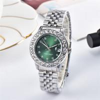 Wholesale fashion watch ice online - luxury women watches quartz diamond iced out watch date R1017 fashion dress brand designer ladies Wristwatches Montre de luxe