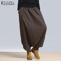 Wholesale womens baggy trousers resale online - ZANZEA Summer Autumn Womens Linen Elastic High Waist Solid Harem Cross pants Bloomers Pant Loose Baggy Long Trousers S18101605