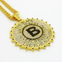 engrenagem do hip hop venda por atacado-Nova moda Punk Ouro hip hop neckalce prata diamante engrenagem rodada tag com B Pingentes colar de Hip Hop Jóias para Homens venda chapéu