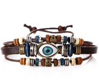 ingrosso i braccialetti di cuoio mescolano 12pcs-12 pz / lotto colore della miscela dell'occhio del cuoio del braccialetto dei braccialetti per gioielli moda fai da te gfit spedizione gratuita CR028 *