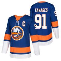 Wholesale John Tavares Jersey - Men's New York Islanders #91 John Tavares 2018 New Season Team Home Captain Jersey Embroidery Logos free shipping