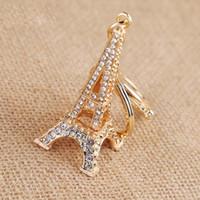 girls paris Australia - Eiffel Tower keychain for keys souvenirs Creative paris tour eiffel Rhinestone key chain key ring decoration key holder
