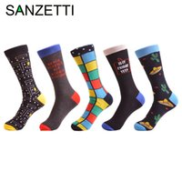 working animals 2018 - SANZETTI 5 pairs lot Men's Classic Combed Cotton Casual Dress Socks Grid Dress Party Socks Business Work Long for Gifts