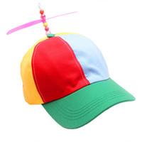 sombreros de bambú snapback al por mayor-1 UNID Hombres Mujeres Adulto Hélice Sombrero Colorido Remiendo Divertido Sombreros de Béisbol Hélice de Bambú Libélula Sun Sombrero Casquette Snapback