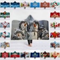 Wholesale hooded bath towel for adults resale online - Thicken Wrap Cloak D Digital Printing Christmas Bath Hooded Blanket For Winter Keep Warm Towel High Quality jm BB
