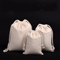 Wholesale flax clothing online - Cloth Quality Drawstring Bag Pure Color Canvas Dustproof Bundle Pocket Goods Packing Storage Flax Jewellery Bags ss7 UU