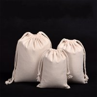 Wholesale flax s - Cloth Quality Drawstring Bag Pure Color Canvas Dustproof Bundle Pocket Goods Packing Storage Flax Jewellery Bags 4 2ss7 UU
