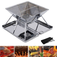 Wholesale field glasses resale online - Outdoor portable folding stainless steel grill home portable charcoal grill oven BBQ stove charcola BBQ grill