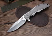 outils cnc livraison gratuite achat en gros de-Livraison gratuite ZT0192 couteaux TC4 Titane CNC poignée D2 lame flipper Couteau pliant camping en plein air couteaux de chasse EDC outil
