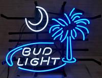 "17""x14"" Bud Light South Carolina Palmetto Tree Moon Beer Neon Light Sign"