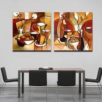 lona da pintura a óleo para a cozinha venda por atacado-Unframed 2 Painel Handmade Flor Cup Set Abstrata Moderna Pintura A Óleo Sobre Tela Home Decor Para Cozinha Wall Art Imagem
