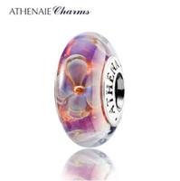 925 silberner kern großhandel-ATHENAIE echte Murano Glas 925 Silber Kern fünfblättrigen Blüten Charms Perlen passen Pandora Armbänder und Halsketten Farbe lila
