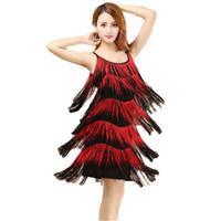 costumes de danse latine rouges achat en gros de-Red Latin Dance Costumes Femmes Salsa Dancewear Dance Robes de costume Robes de compétition de salon Tango Adult Fringe Latin D